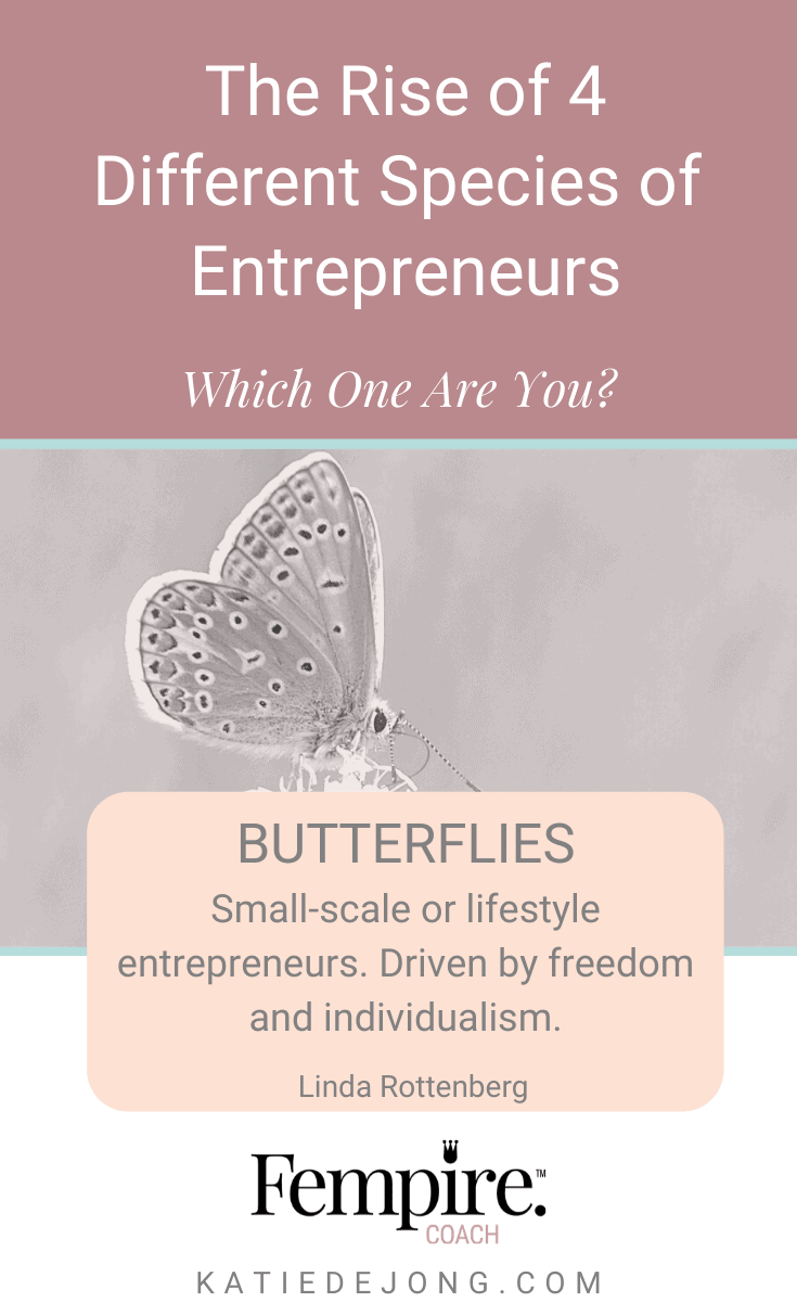Are you an entrepreneurial 'butterfly'? These business owners are driven by freedom, individualism and a desire to make a difference. Read on to discover the other three types of entrepreneurs who are on the rise! #fempire #fempirecoach #entrepreneur #entrepreneurship #ladyboss #womeninbusiness #businesswoman #businesscoach #solopreneur #entrepreneurlife #success #successmindset #workfromhome #mompreneur #mumpreneur #laptoplifestyle #leadership