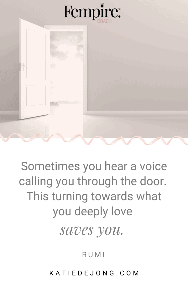 What's the voice calling you through the door? Are you listening to it? Discover how to find and live your own personal truth to experience deep and lasting fulfillment and happiness. #purpose #truth #personalgrowth #personaldevelopment #careerchange #authenticity