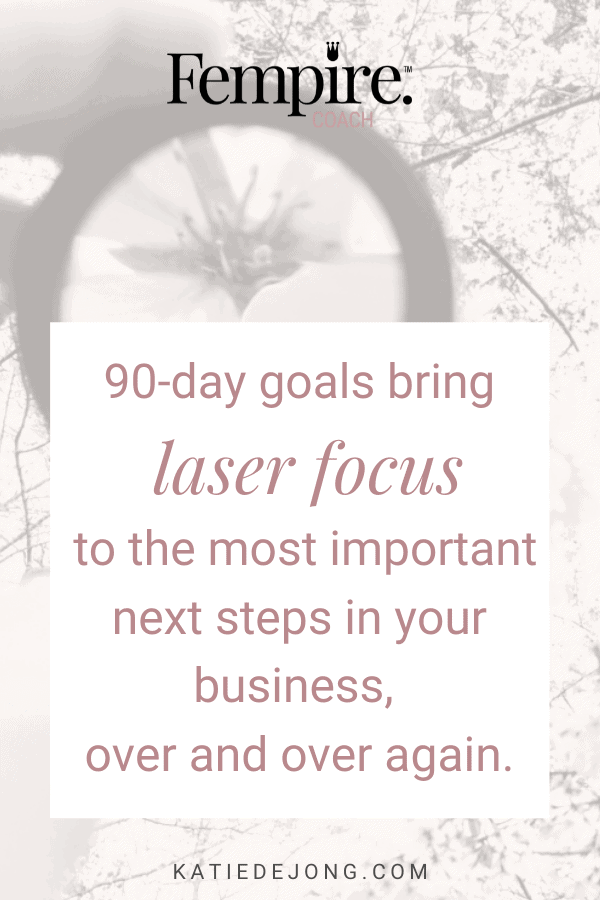 Setting 90 day goals brings laser focus to your business, over and over again, which dramatically increases your productivity and effectiveness. You'd be amazed at what you can achieve in 3 months! Read on to discover how to apply 90 day goal setting to your business to drive huge revenue growth as fast as possible. #fempire #fempirecoach #entrepreneur #ladyboss #womeninbusiness #businesswoman #businesscoach #solopreneur #success #successmindset #workfromhome #mompreneur #mumpreneur #laptoplifestyle  #goals #goalsetting #90daygoals