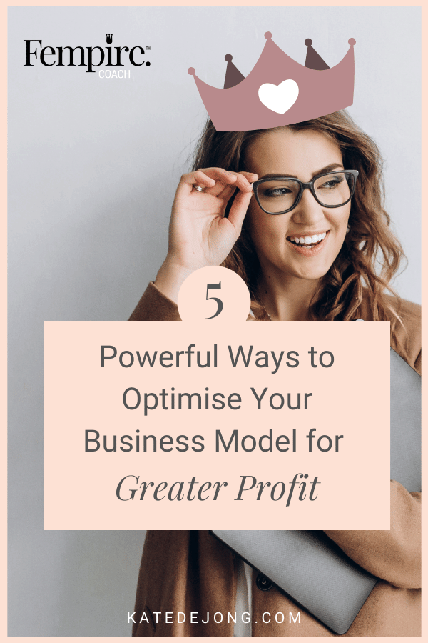 Are you tired of being a slave to your business and want to break through into higher levels of revenue and freedom? It's time to become a profit queen! Discover five ways that you can optimise your business model so you can finally create the business and lifestyle you deserve. #fempire #smallbusiness #businesscoach #businesscoachforwomen #entrepreneur #businessgrowth #growthstrategies #womensupportingwomen