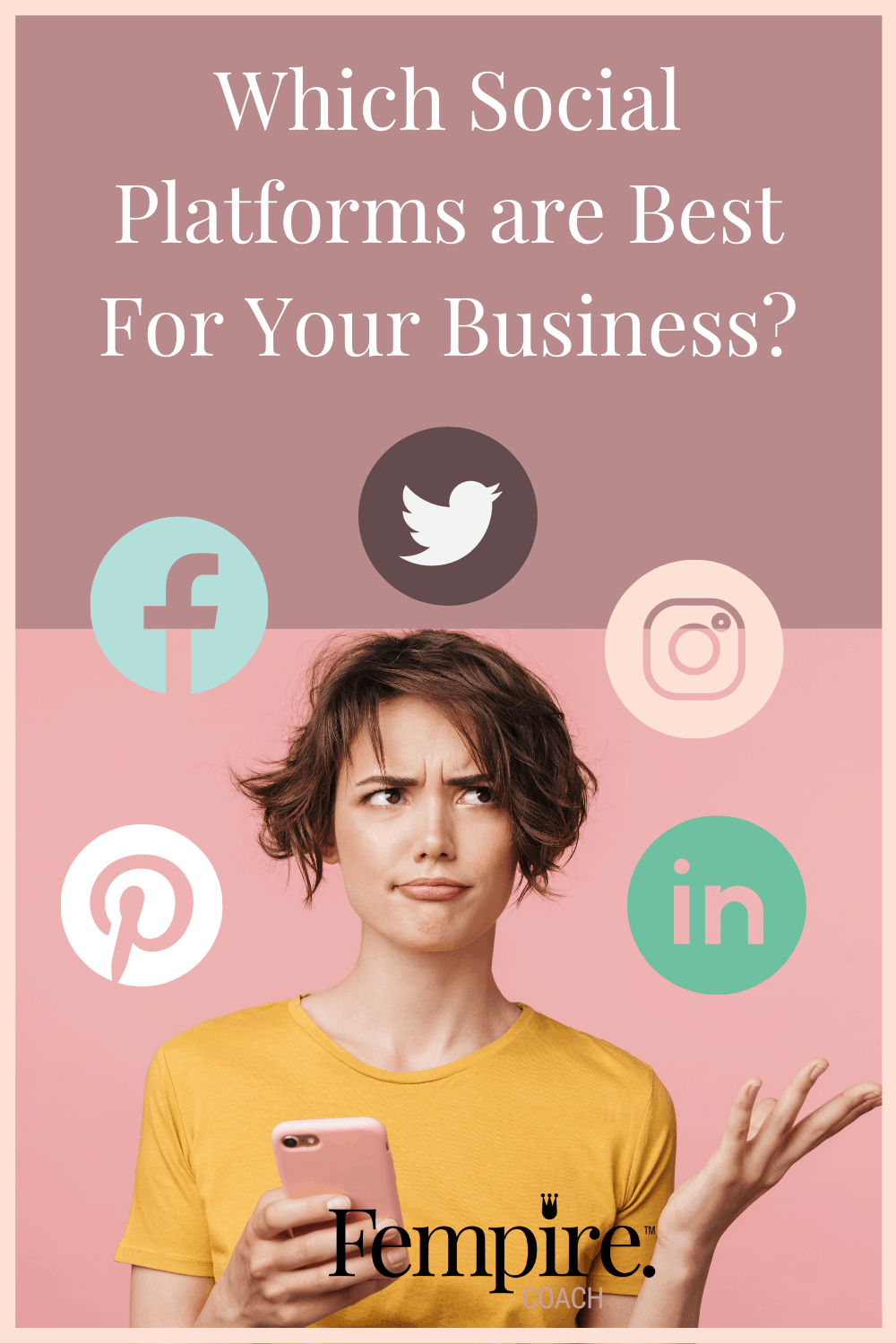 Facebook, Instagram, LinkedIn, Twitter, Pinterest, SnapChat, TikTok, YouTube... the choice of social platforms can be overwhelming! How do you know which ones to focus your time on? In this week's blog I'm sharing all the stats for the 8 biggest social platforms worldwide, so that you can make sure you're focusing your time and energy on the right platforms for your business! #socialmediamarketing #socialmedia #businessmarketing #businesscoach #businesscoachforwomen #fempire #fempirecoach #womensupportingwomen #ladybosses